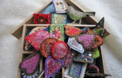 mixed media stitched brooches by Debby Bird